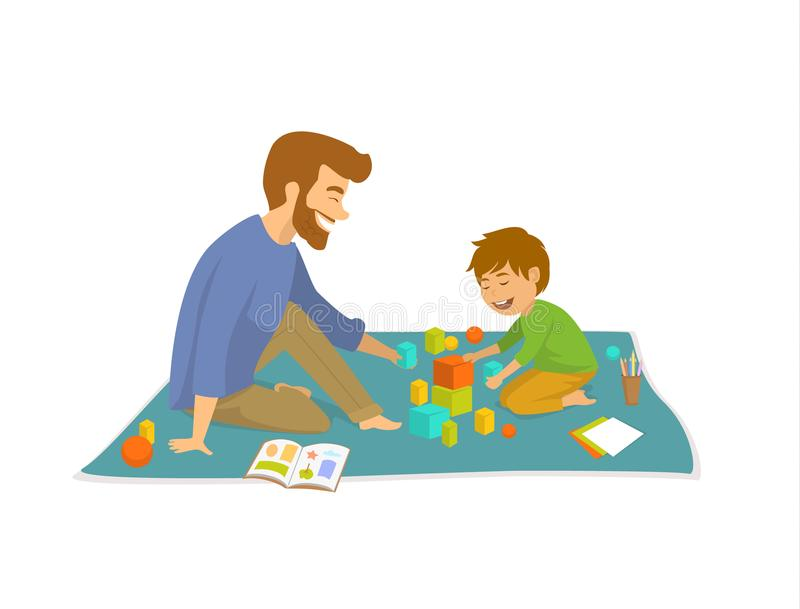 Man and boy, father and son palying on floor at home developing games. Scene royalty free illustration