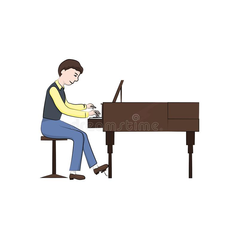 Man boy plays the piano. Vector color. Illustration royalty free illustration