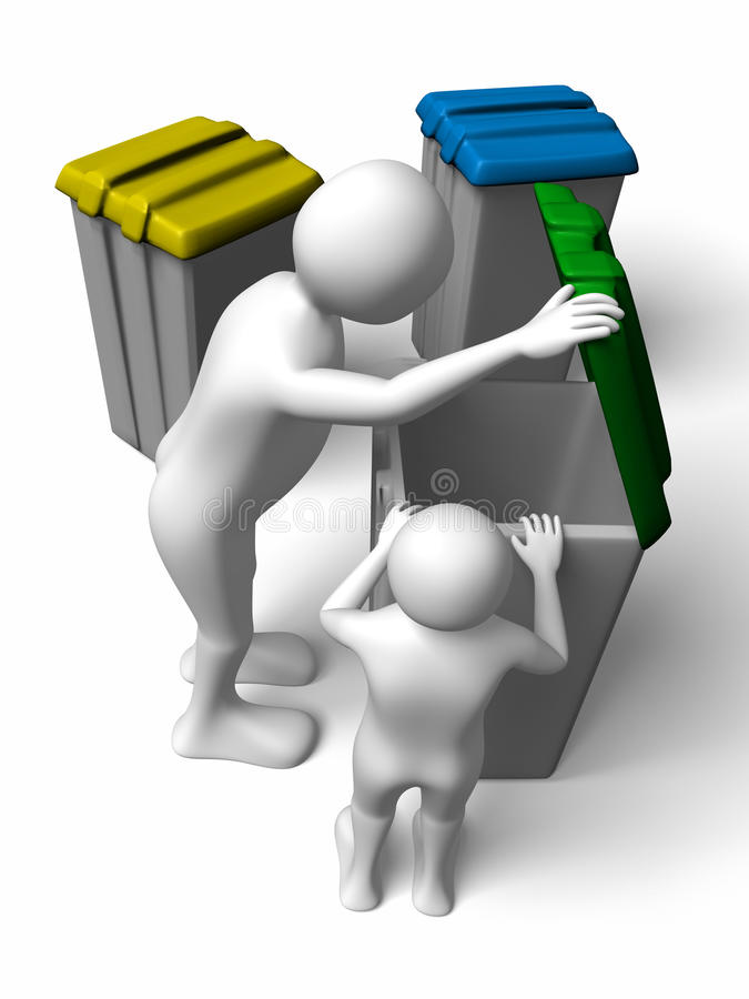 Man and boy searching in the garbage. A man and a boy are searching in the garbage container stock illustration