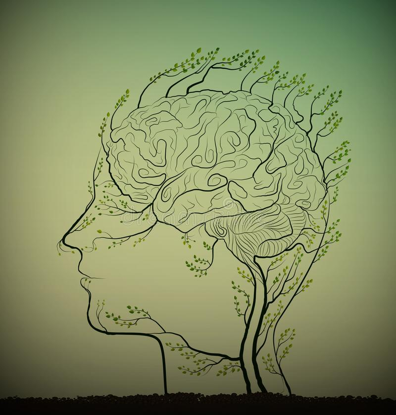 Man brain looks like tree with green branches, herbal medicine against brain disease, plant icon concept, stock illustration