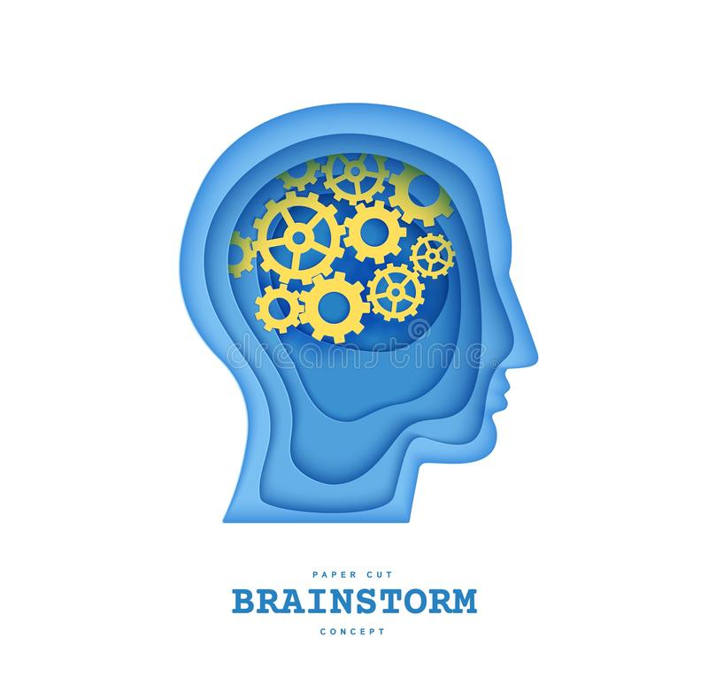 Man brainstorm head in paper cut style. Silhouette of layered human with think gears in brain. Origami skull papercut vector illustration