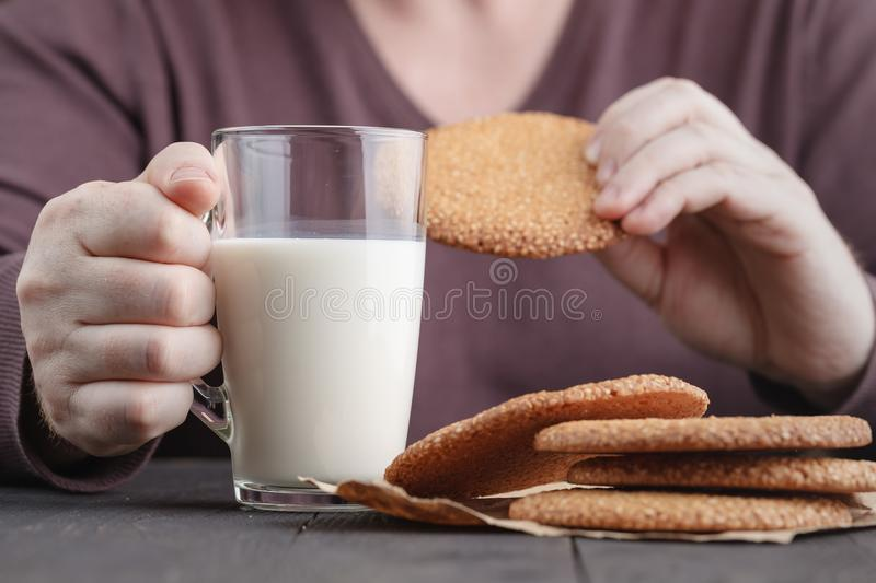 Man breakfast with Middle Eastern Sesame Cookies royalty free stock photos