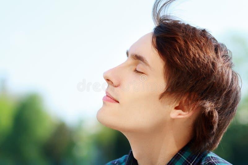 Man breathing fresh air royalty free stock image