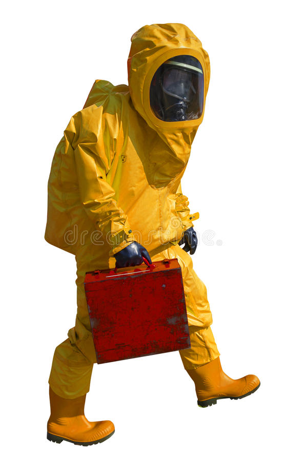 Man with briefcase in protective hazmat suit, isolated on white royalty free stock images