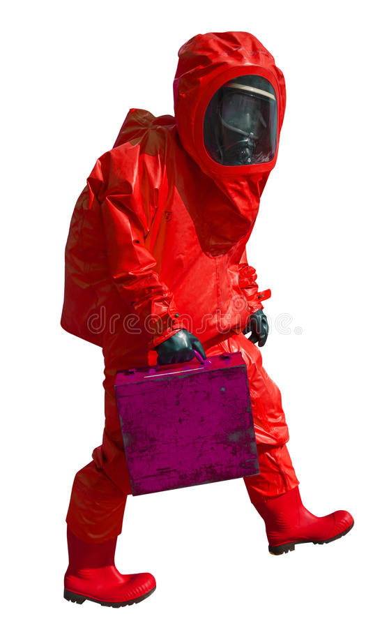 Man with briefcase in protective hazmat suit. Isolated on white royalty free stock image