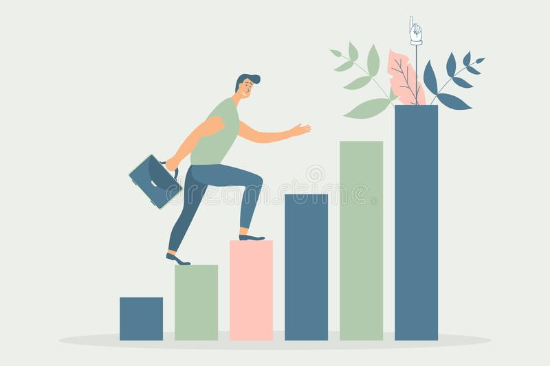Man with briefcase run to his goal on column of columns, move up motivation, path to the target`s achievement.Vector illustration. In funky figures style royalty free illustration
