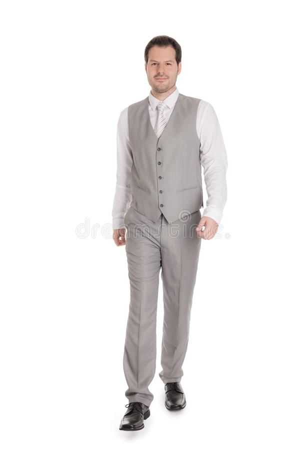 Man with bright grey suit isolated on white background. Business and wedding concept royalty free stock image