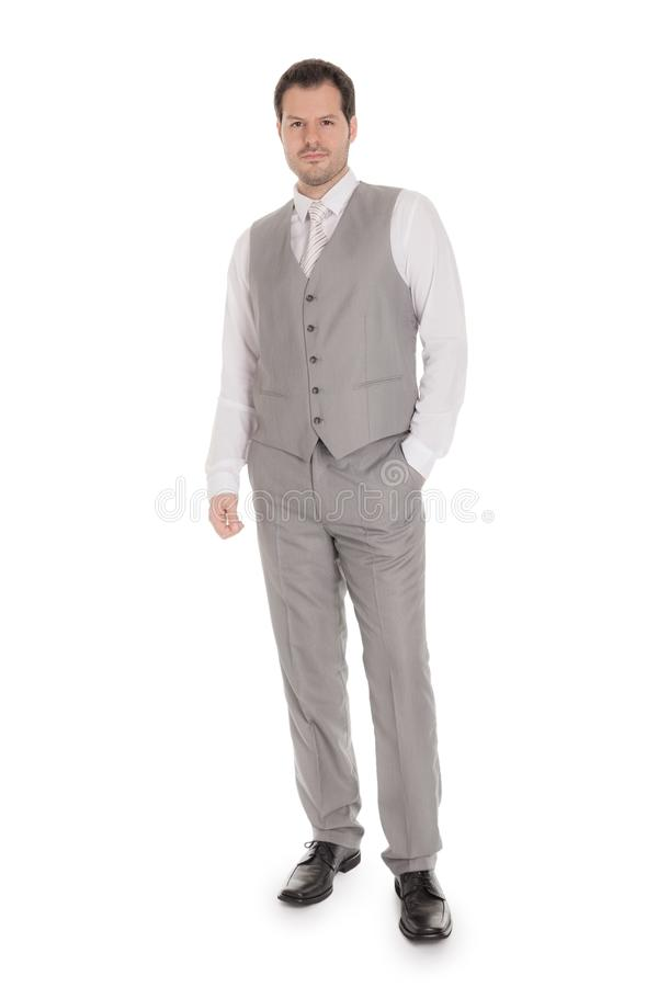 Man with bright grey suit isolated on white background. Business and wedding concept royalty free stock photography