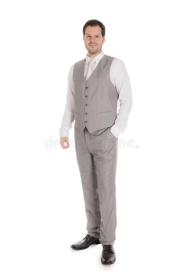 Man with bright grey suit isolated on white background. Business and wedding concept stock photo