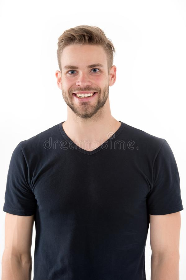 Man with bristle smiling face isolated white background. Perfect smile concept. Smile is part of his style. Man with. Beard unshaven guy looks handsome cheerful royalty free stock photos
