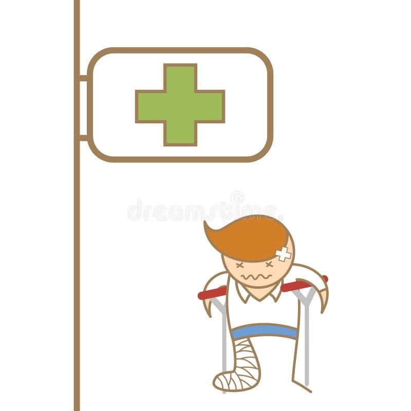 Man broken his leg. Cartoon character of man broken his leg royalty free illustration