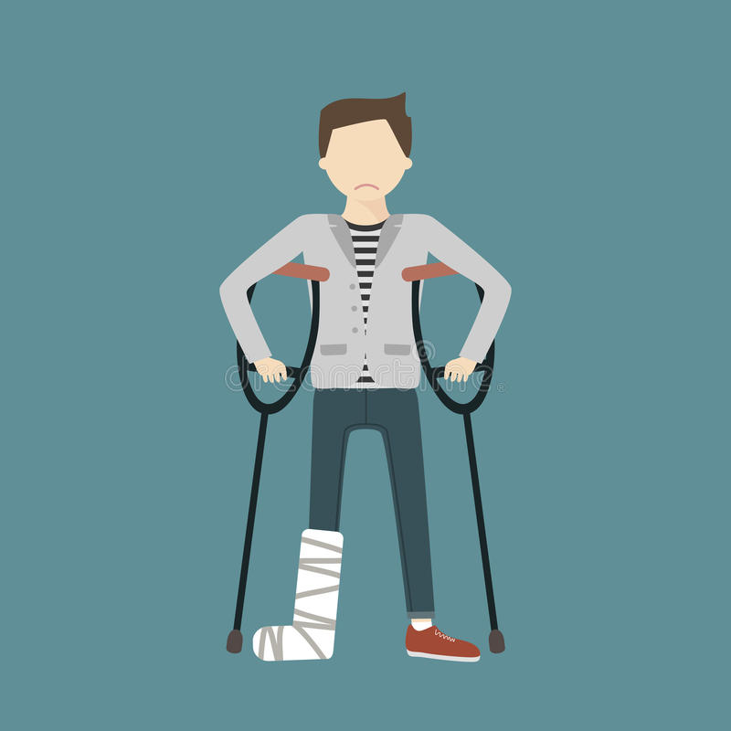 Man with Broken Leg. Man with crutches and a cast on a broken leg. Vector flat design illustration vector illustration