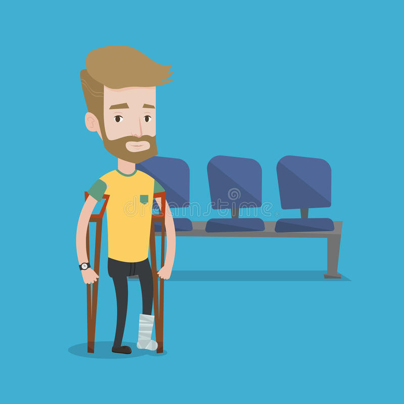 Man with broken leg and crutches. stock illustration