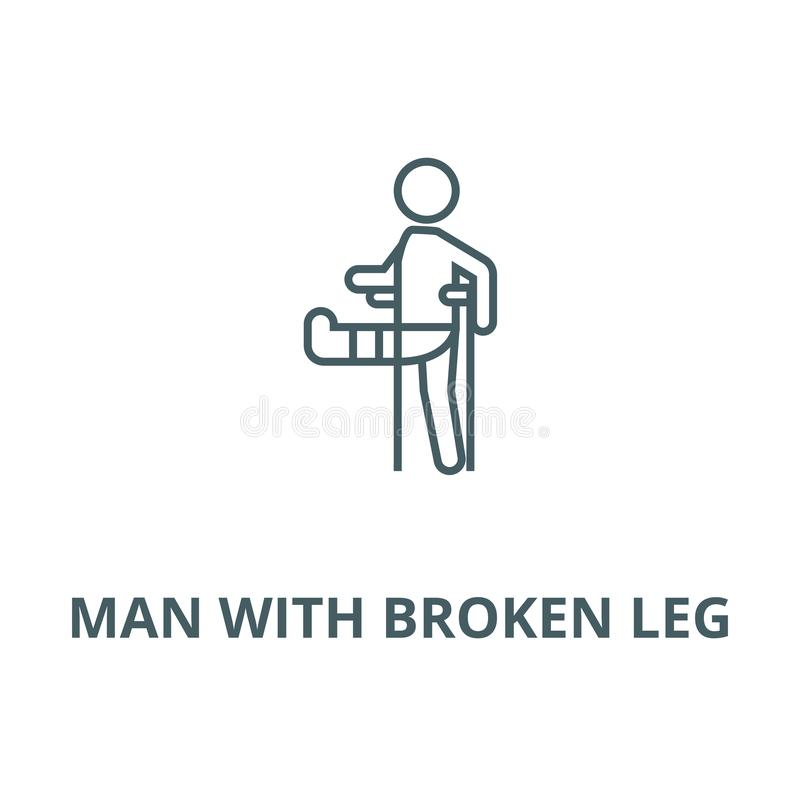 Man with broken leg,gypsum foot crutch vector line icon, linear concept, outline sign, symbol. Man with broken leg,gypsum foot crutch vector line icon, outline royalty free illustration