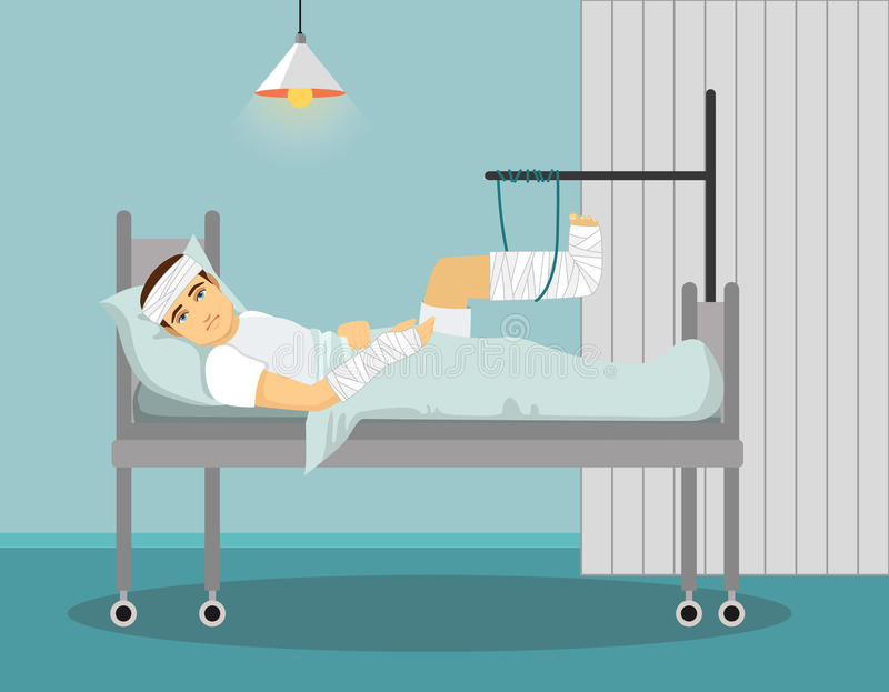 Man with broken leg and hand in Hospital. Vector illustration. royalty free illustration