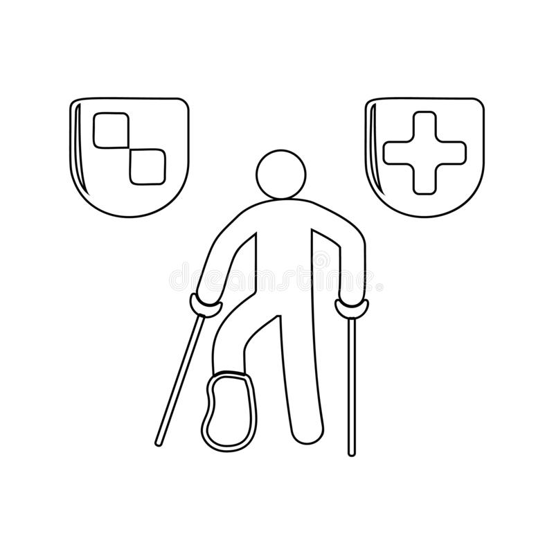 A man with a broken leg icon. Element of insurance for mobile concept and web apps icon. Thin line icon for website design and. Development, app development on stock illustration