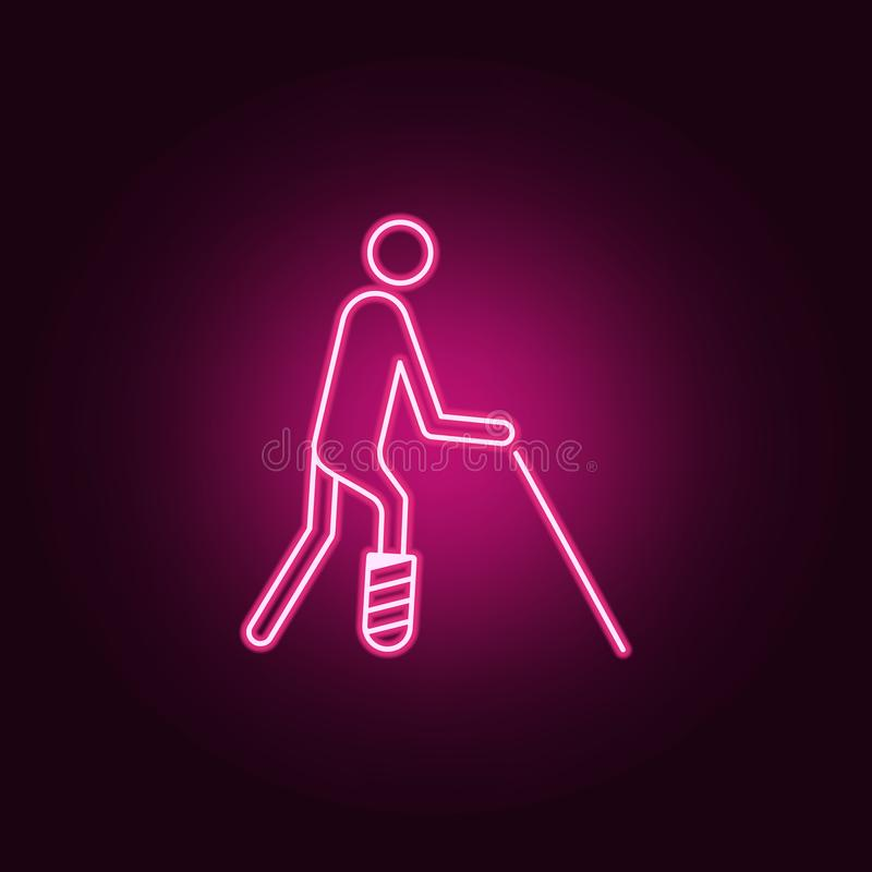A man with a broken leg icon. Elements of Disabled in neon style icons. Simple icon for websites, web design, mobile app, info. Graphics on dark gradient stock illustration