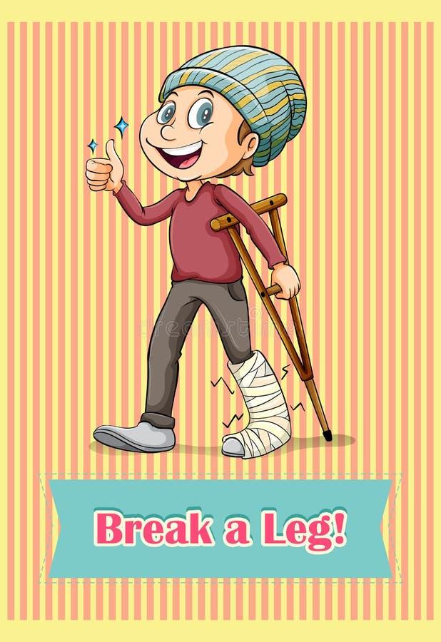 Man with broken leg. Illustration vector illustration