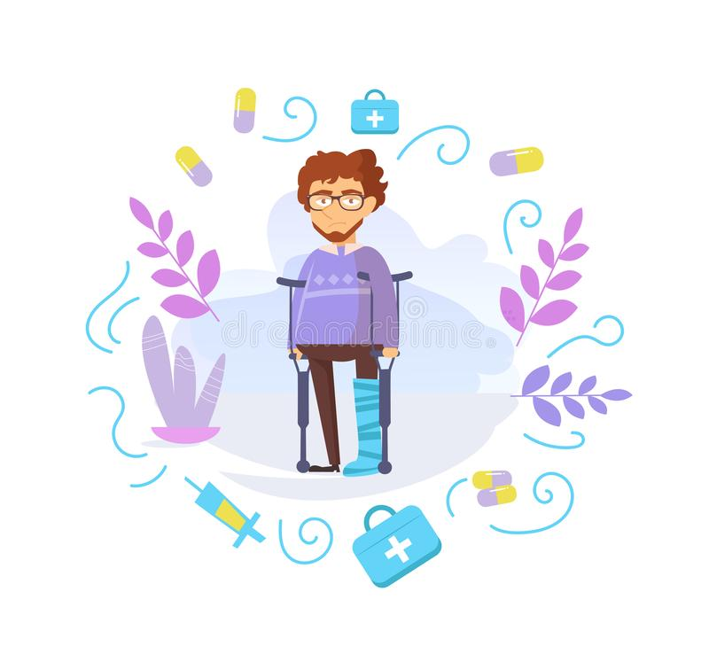 Man with a broken leg in plaster Vector. Cartoon. Isolated art on white background. Flat vector illustration