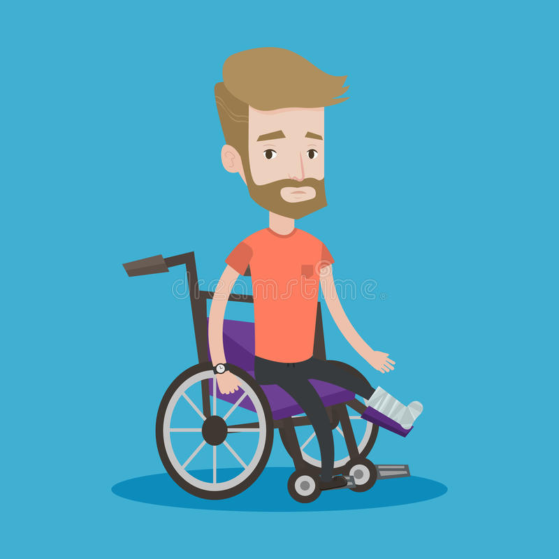 Man with broken leg sitting in wheelchair. Injured man with leg in plaster. Hipster man with the beard sitting in wheelchair with broken leg. Man with fractured vector illustration