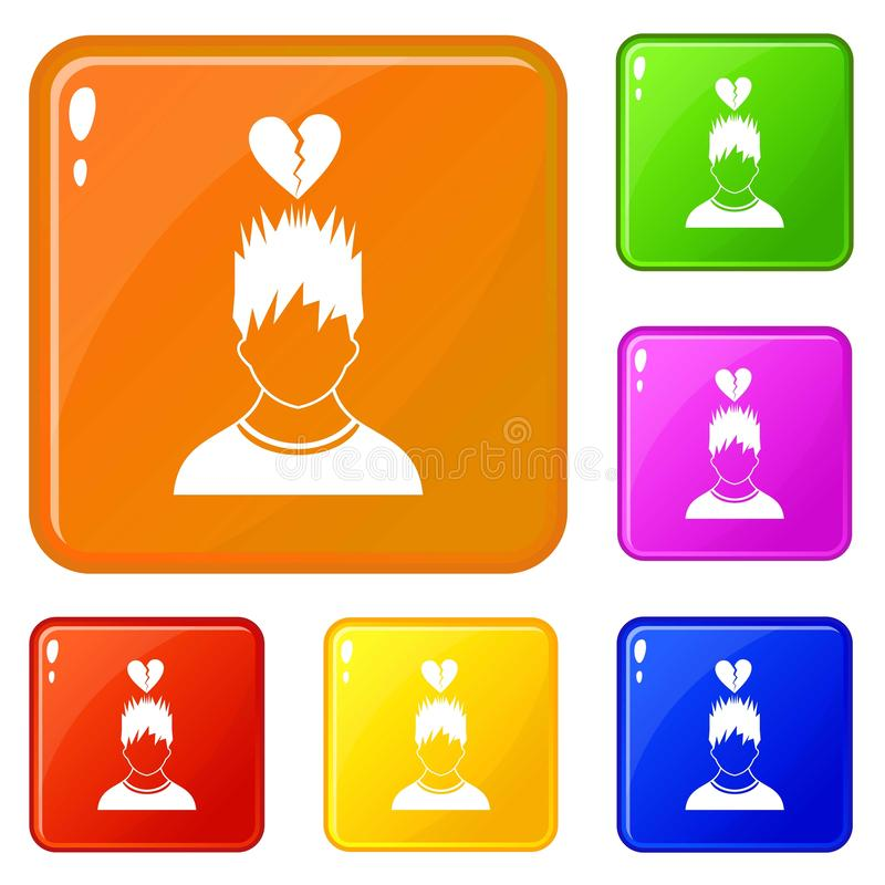 Man with broken red heart over head icons set vector color. Man with broken red heart over head icons set collection vector 6 color isolated on white background vector illustration