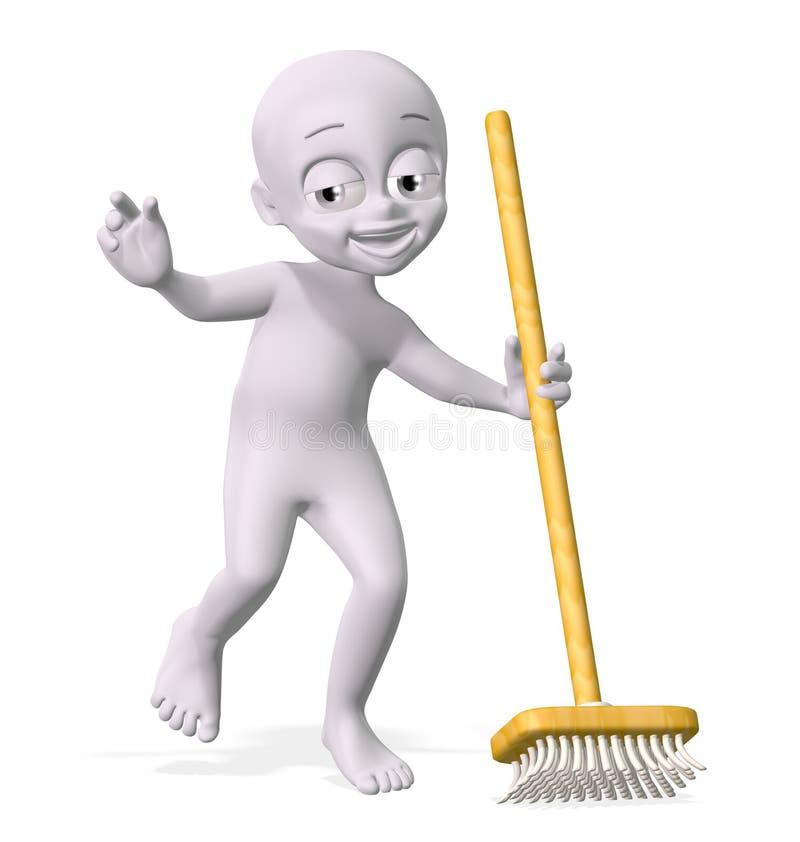 Download Man with broom stock illustration. Illustration of figure - 22582333