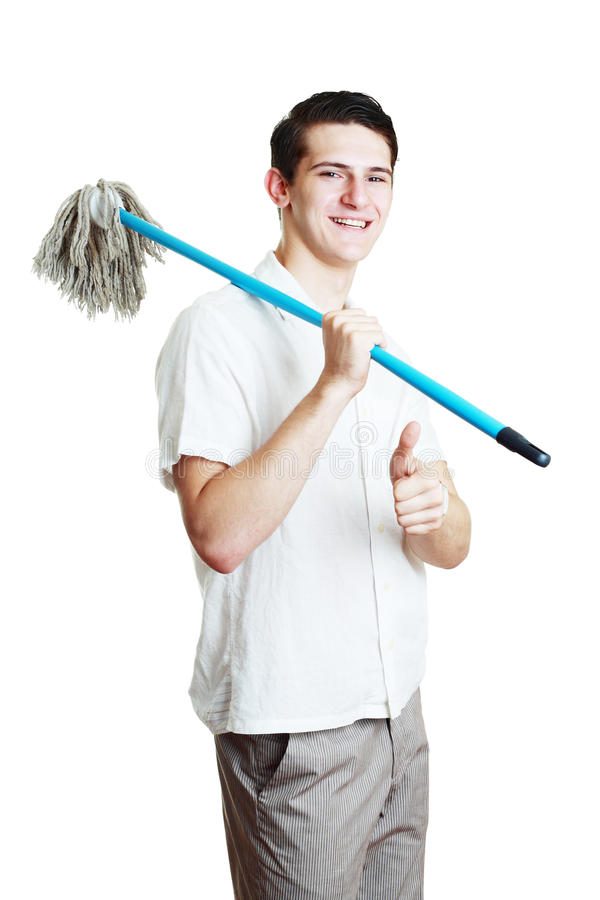 Download Man with broom stock image. Image of holding, full, clean - 32661605