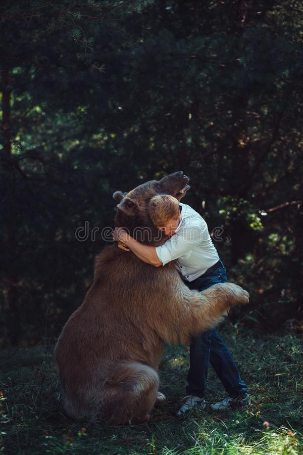 Man and a brown bear are hugging royalty free stock image