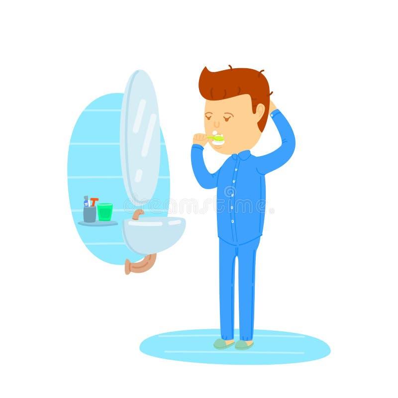 Man brushing teeth in bathroom vector illustration