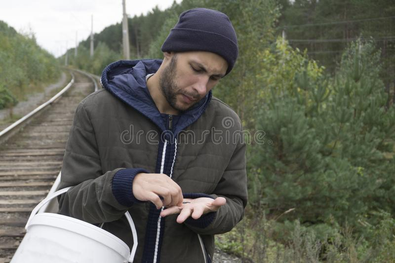 A man with a bucket of mushrooms in the forest stock photos
