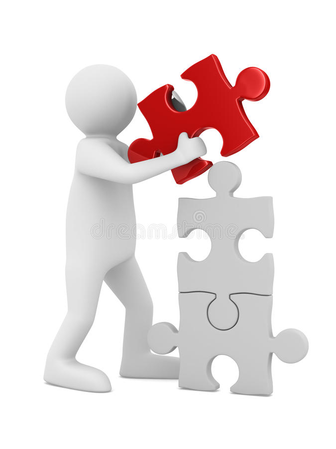 Download Man build puzzle on white stock illustration. Image of illustration - 23718587
