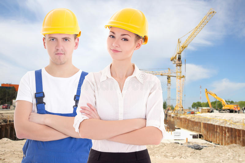 Download Man Builder And Business Woman Architect In Helmet Stock Photo    Image Of Crane,