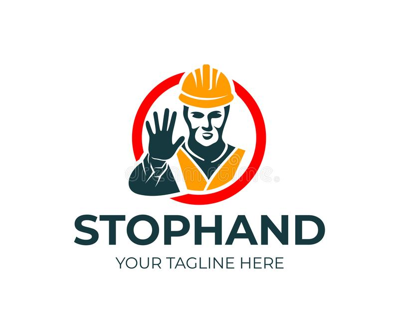 Man builder in helmet and reflective vest gesturing with stop hand in red circle, logo design. Construction, road works, warning s royalty free illustration
