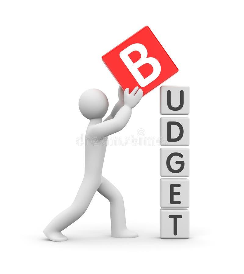 Man builds a budget stock illustration