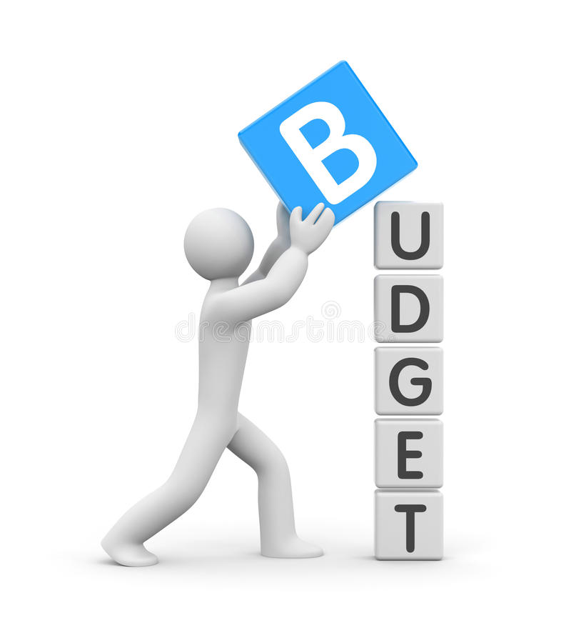 Man builds a budget royalty free illustration