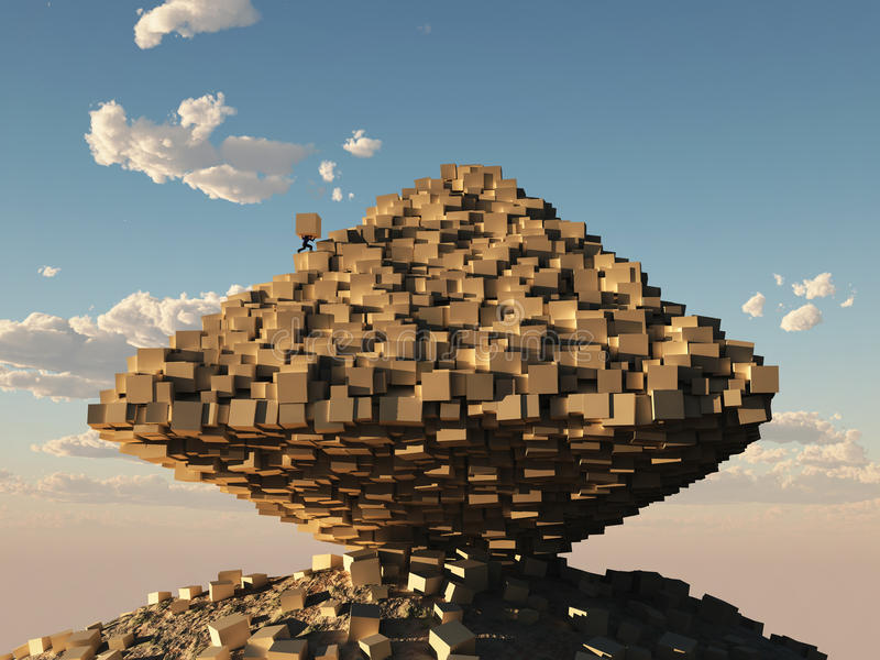 Man builds a pyramid stock illustration