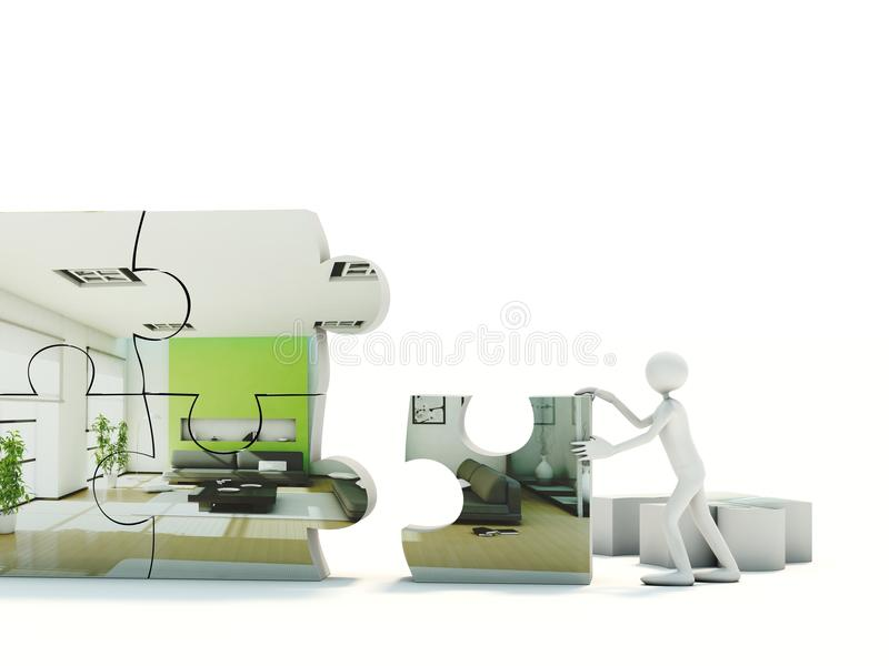 Man built interior. Puzzle isolated on white royalty free illustration
