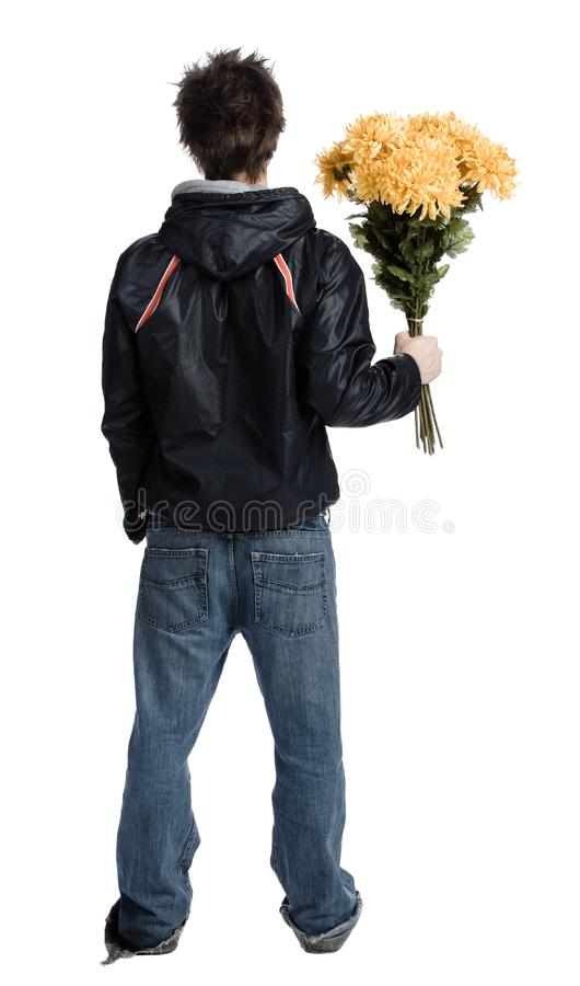 Man with a bunch of flower royalty free stock photography