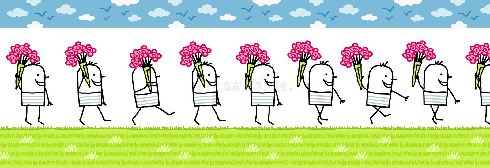 Man with bunch of flowers. Walking cartoon character for animated sprite vector illustration