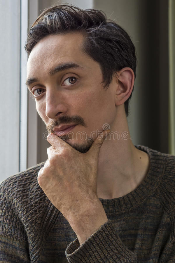 Man with burn scar. Portrait of a young man with burn scar stock images