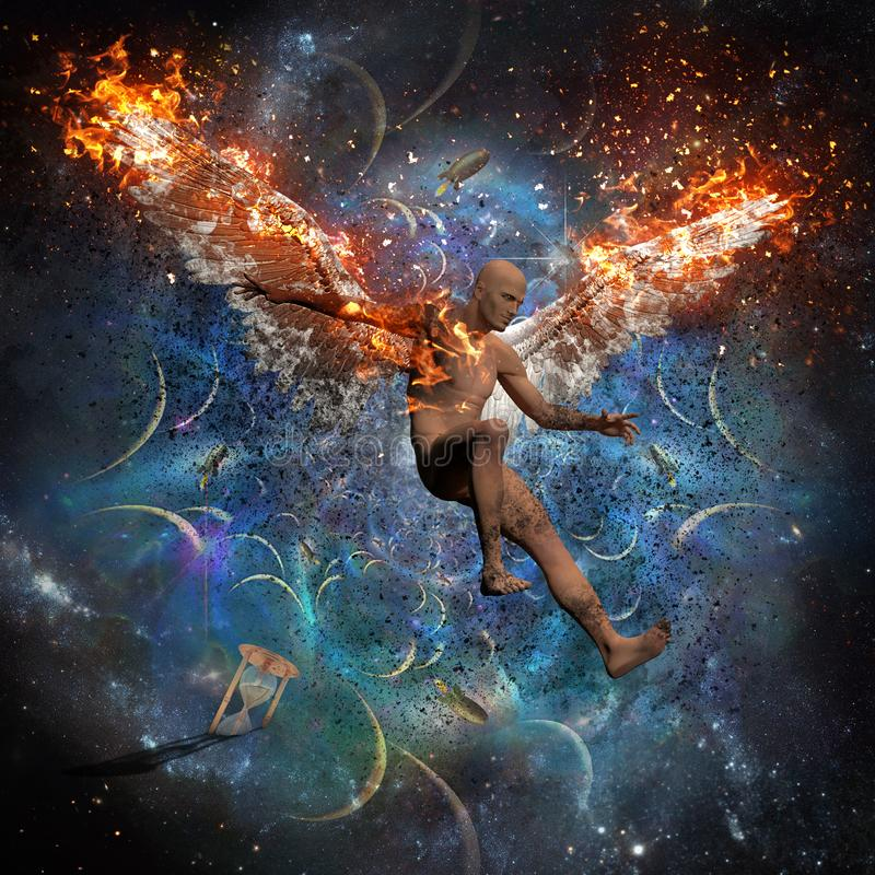 Fallen angel. Man with burning wings symbolizes fallen angel. Space and rockets on the background. Hourglass symbolizes time. Human elements were created with 3D vector illustration