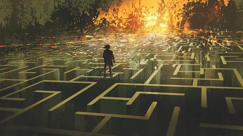 The man in a burnt labyrinth land stock illustration