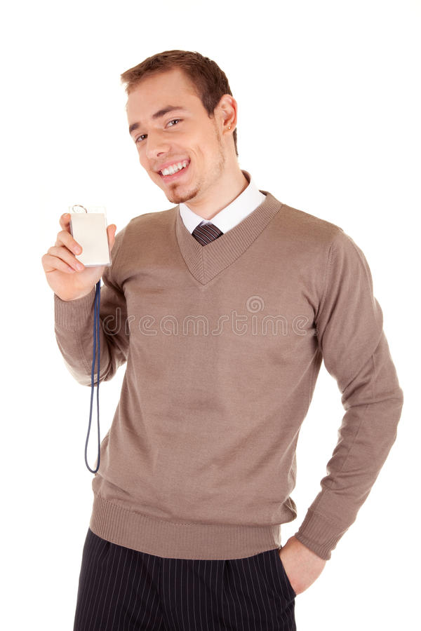 Man with Business Card stock photography