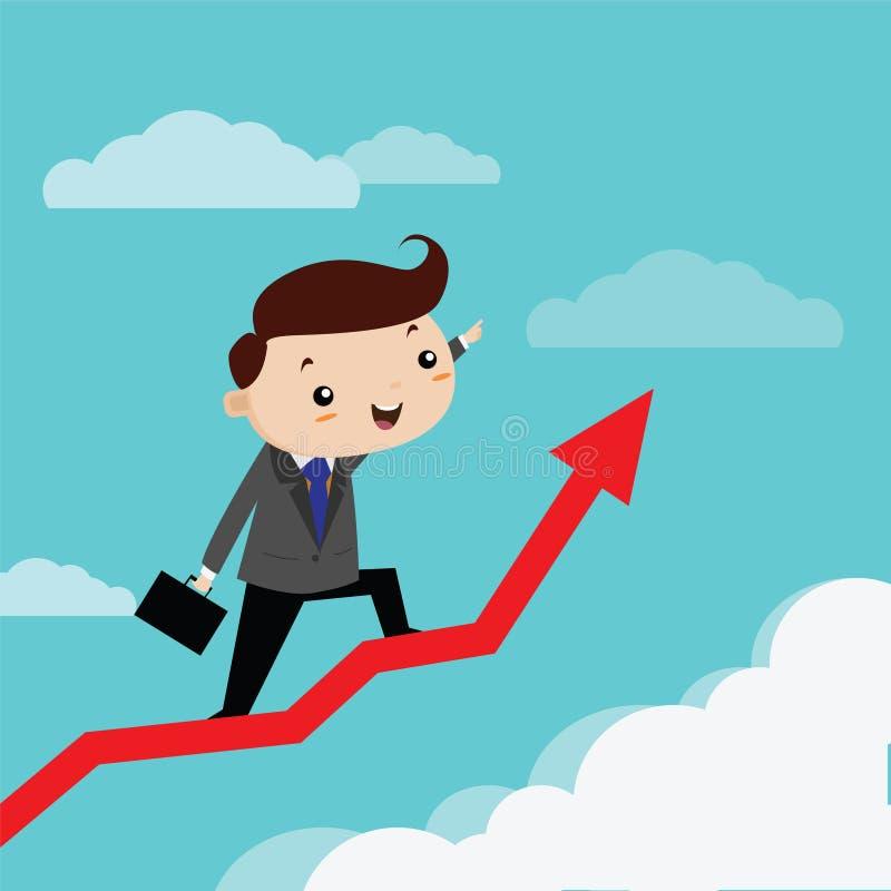 Man business happiness to grow up arrow graph. Vector cartoon vector illustration