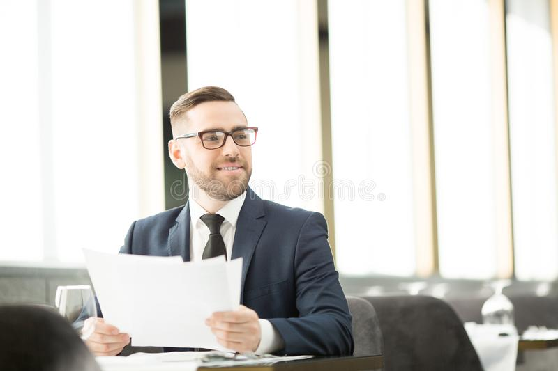 Man with business papers royalty free stock images