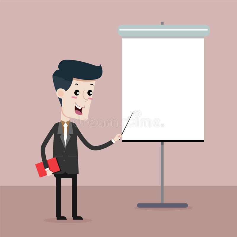 Man Business on presentation. Vector cartoon royalty free illustration
