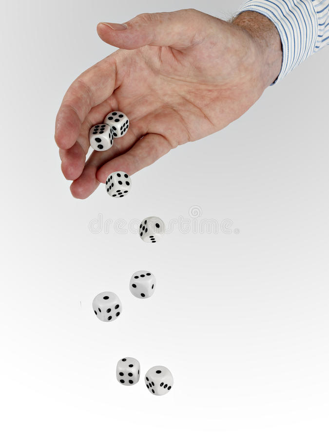 Download Man In Business Shirt With Tumbling Dice Stock Photo - Image: 20671826