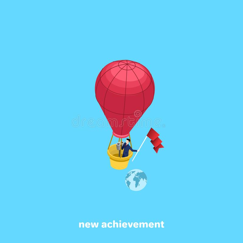 A man in a business suit flies in a balloon and keeps developing flag stock illustration