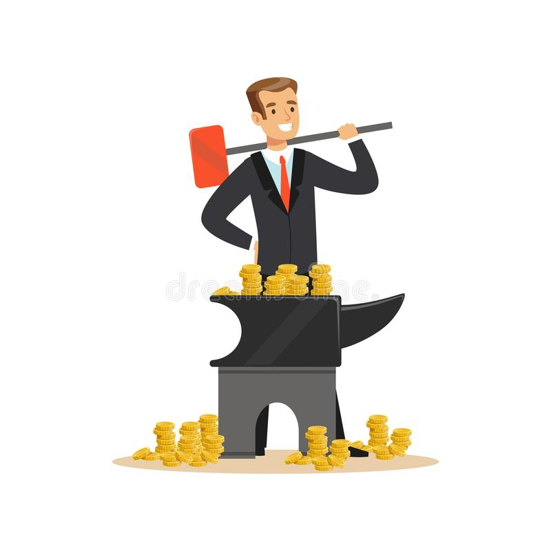 Man in a business suit forging money on the anvil, make money concept vector Illustration vector illustration