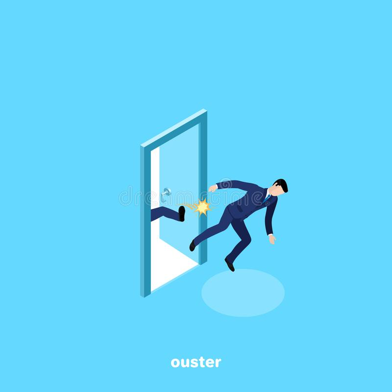 A man in a business suit is kicked out of work. Kicked in the ass, an isometric image vector illustration